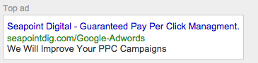 Google Adwords Top Spot